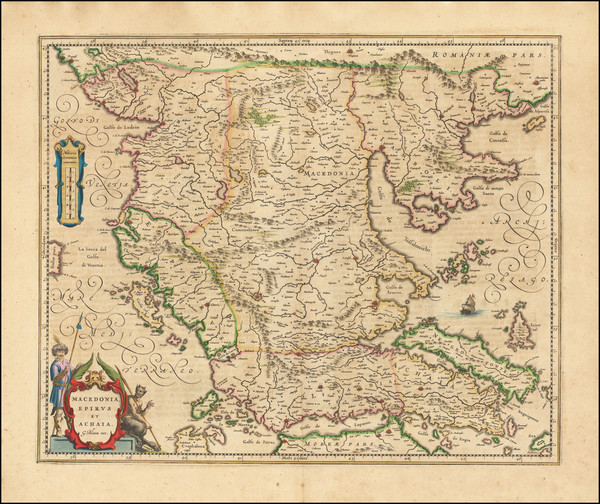 30-Albania, Kosovo, Macedonia and Greece Map By Willem Janszoon Blaeu
