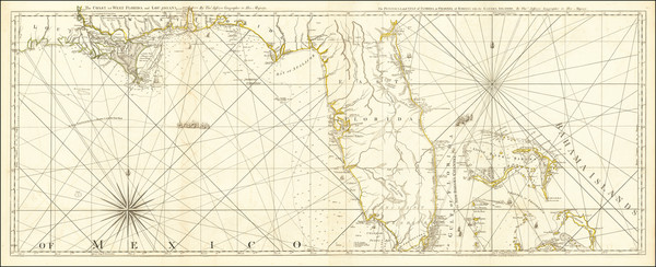 2-Florida, South, Louisiana, Alabama, Mississippi and Bahamas Map By Thomas Jefferys