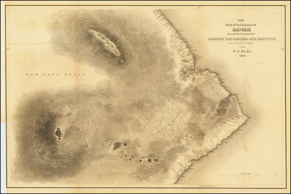 41-Hawaii and Hawaii Map By Charles Wilkes
