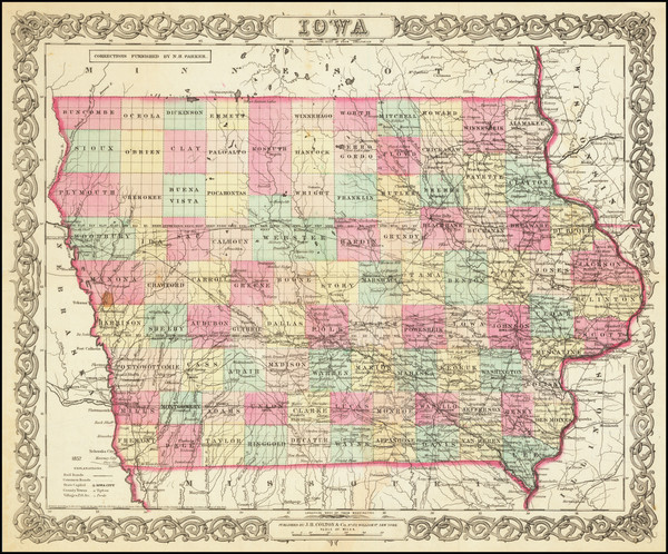 91-Iowa Map By Joseph Hutchins Colton