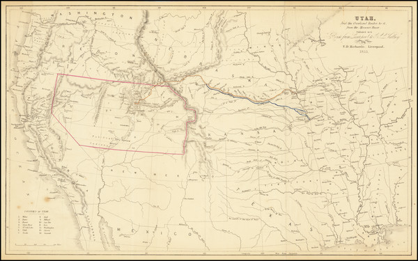 40-Plains, Utah, Rocky Mountains and Utah Map By F.D. Richards