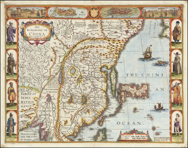 8-China, Japan, Korea and India Map By John Speed