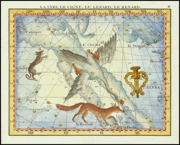 86-Celestial Maps Map By John Flamsteed / MJ Fortin