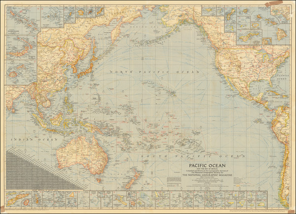 2-Pacific Ocean, Pacific, Other Pacific Islands and World War II Map By National Geographic Socie