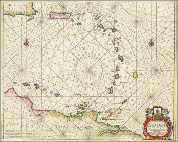 91-Puerto Rico, Other Islands and Venezuela Map By Anthonie (Theunis)   Jacobsz