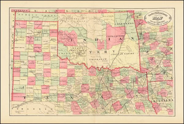 3-Texas and Oklahoma & Indian Territory Map By HS Stebbins
