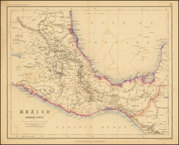 90-Mexico and Central America Map By Henry Darwin Rogers  &  Alexander Keith Johnston