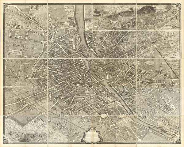 94-France and Paris Map By Michel-Étienne Turgot  &  Louis Bretez