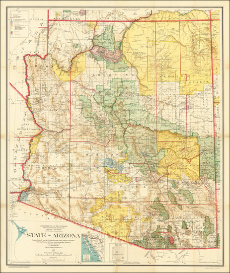 76-Arizona Map By General Land Office