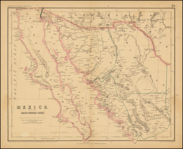 65-Mexico and Baja California Map By Henry Darwin Rogers  &  Alexander Keith Johnston