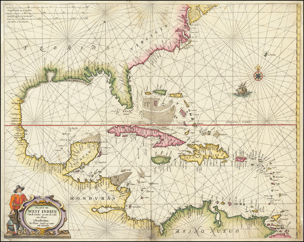 44-Mid-Atlantic, Florida, South, Southeast, Texas, Mexico, Caribbean and Central America Map By An