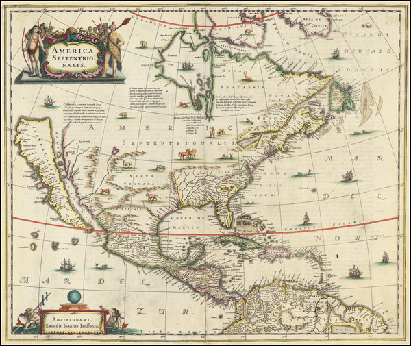 65-North America and California as an Island Map By Henricus Hondius / Jan Jansson