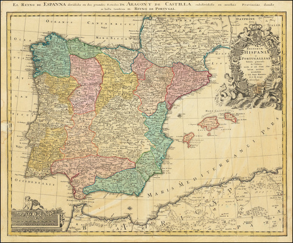 72-Spain and Portugal Map By Johann Baptist Homann