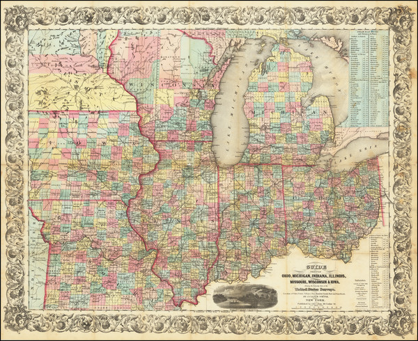93-Illinois, Indiana, Ohio, Michigan, Minnesota, Wisconsin and Iowa Map By Joseph Hutchins Colton