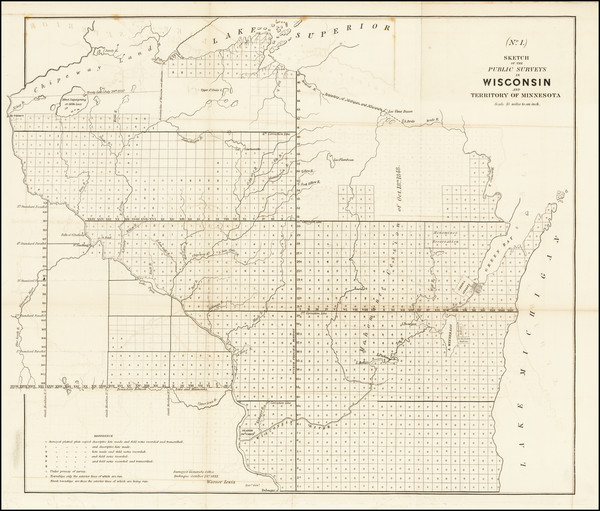 1-Minnesota and Wisconsin Map By General Land Office