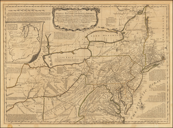 79-United States, Mid-Atlantic and Midwest Map By Robert Sayer / Thomas Jefferys / Lewis Evans