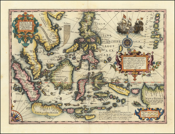 98-Southeast Asia, Philippines, Indonesia and Malaysia Map By Jodocus Hondius