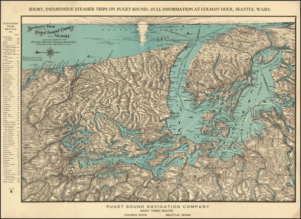 78-Washington and Canada Map By Puget Sound Navigation Company