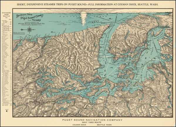 57-Washington and Canada Map By Puget Sound Navigation Company