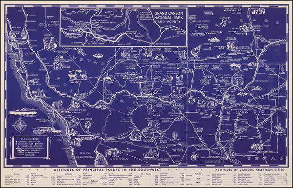 87-Arizona, Colorado, Utah, Nevada, New Mexico, Colorado, Utah and California Map By Fred Harvey