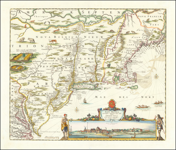 30-New England, New York State, Mid-Atlantic and Canada Map By Nicolaes Visscher I