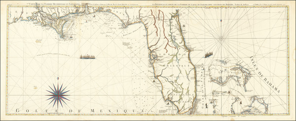 42-Florida, South, Southeast and Bahamas Map By Georges Louis Le Rouge