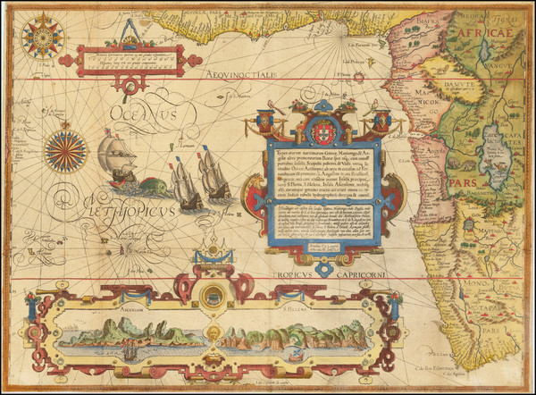 80-Atlantic Ocean, Africa, South Africa and West Africa Map By Jan Huygen Van Linschoten