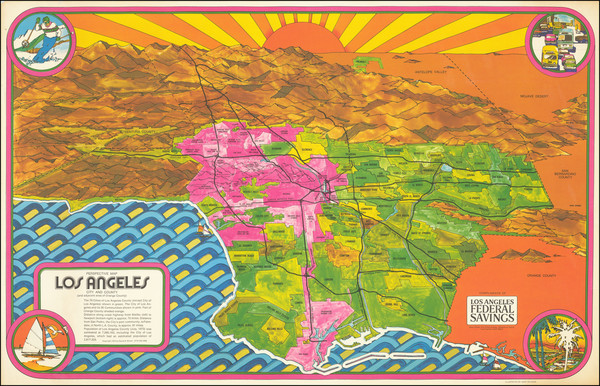 25-Pictorial Maps, California and Los Angeles Map By Gary Pelzman