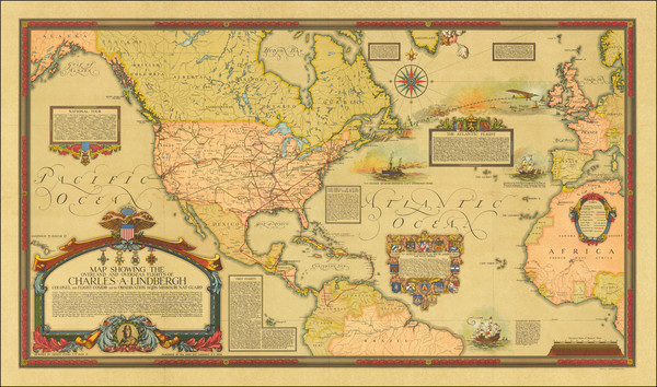 36-Atlantic Ocean, United States, North America and Pictorial Maps Map By Ernest Clegg