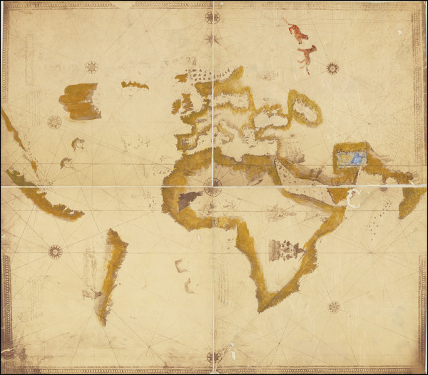 98-World, North America and America Map By Anonymous / Amerigo Vespucci