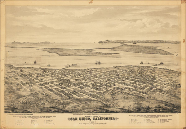 85-California and San Diego Map By Eli Sheldon Glover