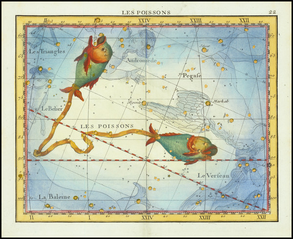33-Celestial Maps Map By John Flamsteed / MJ Fortin