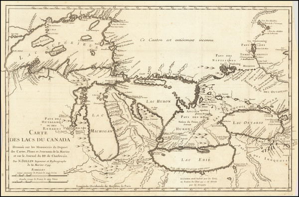 56-Midwest, Illinois, Michigan and Canada Map By Jacques Nicolas Bellin