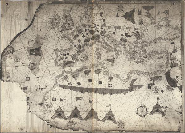 75-Europe and Mediterranean Map By Vesconte Maggiolo