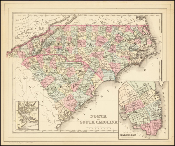 55-North Carolina and South Carolina Map By Samuel Augustus Mitchell Jr.