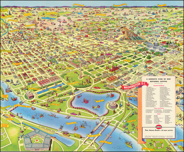 62-Washington, D.C. and Pictorial Maps Map By Don Bloodgood