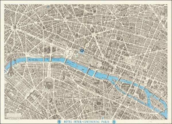 17-Paris and Pictorial Maps Map By Georges Peltier / Blondel La Rougery
