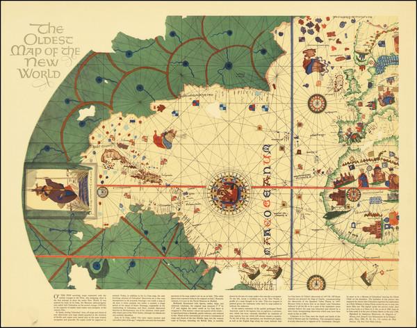 44-North America, Central America, South America and America Map By Juan de la Cosa / American Her
