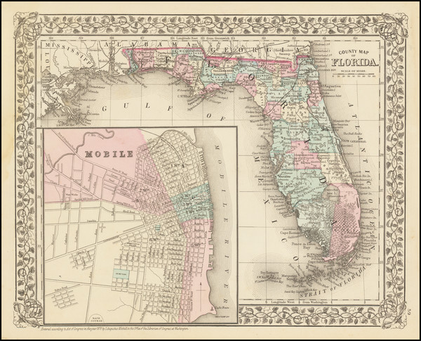 9-Florida and Alabama Map By Samuel Augustus Mitchell Jr.