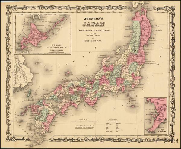 83-Japan Map By Alvin Jewett Johnson  &  Benjamin P Ward
