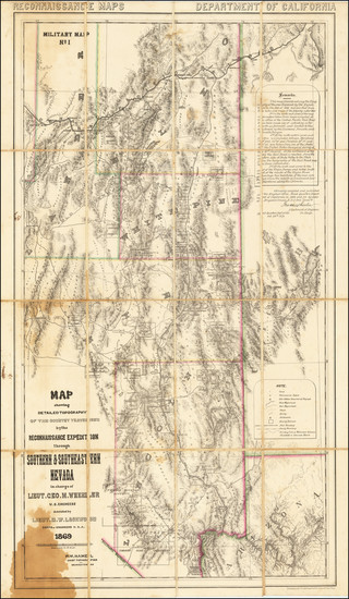 33-Arizona, Utah, Nevada and Utah Map By George M. Wheeler