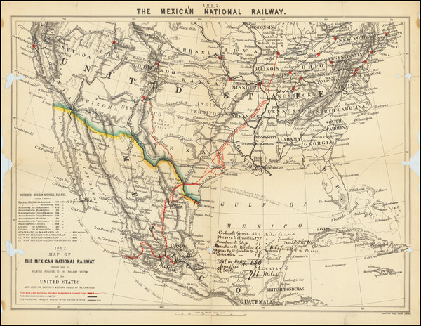 35-United States and Mexico Map By Edward Stanford
