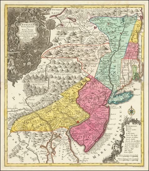 62-New York State, New Jersey and Pennsylvania Map By Tobias Conrad Lotter