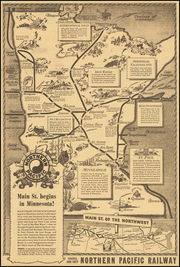 96-Minnesota and Pictorial Maps Map By Northern Pacific Rail Road