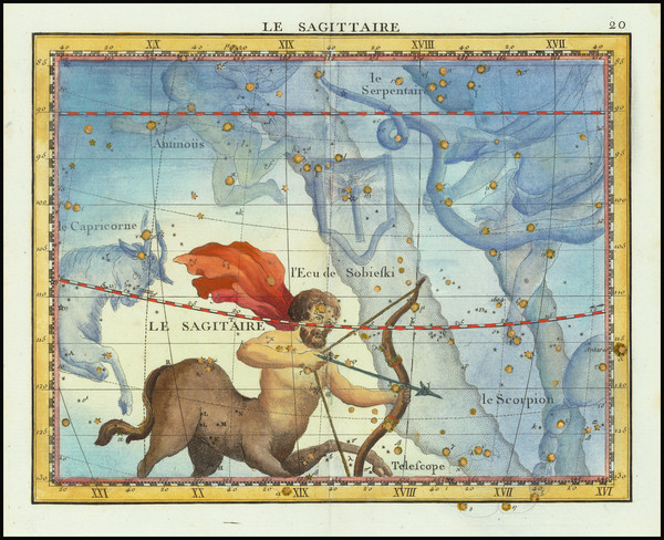 67-Celestial Maps Map By John Flamsteed / MJ Fortin