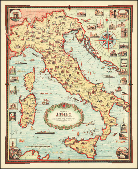 55-Italy and Pictorial Maps Map By Ernest Dudley Chase