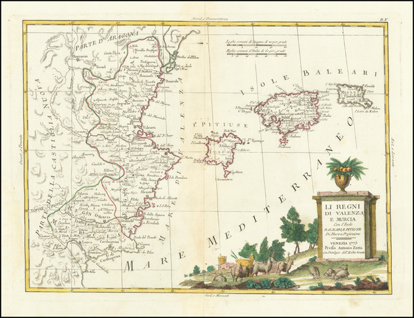 69-Spain and Balearic Islands Map By Antonio Zatta