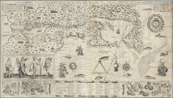 69-New England, Midwest, Canada and Rare Books Map By Samuel de Champlain
