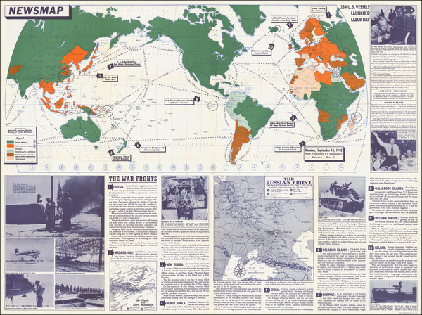 16-World and World War II Map By United States GPO