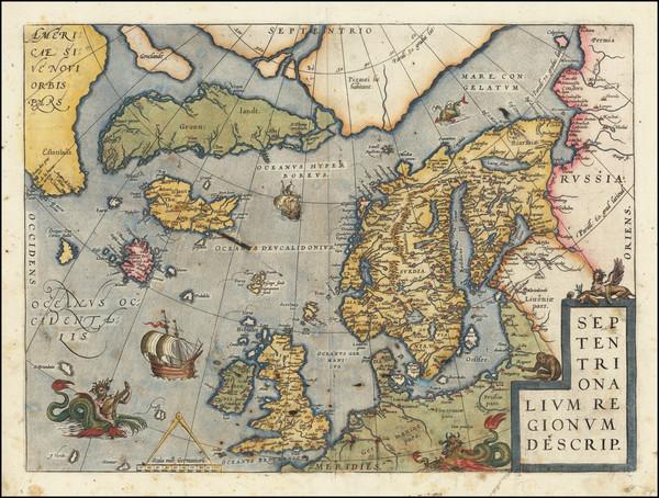 68-Atlantic Ocean, British Isles, Scandinavia and Balearic Islands Map By Abraham Ortelius